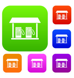 gas station set collection vector image