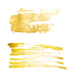golden brush stroke brush line or texture vector image