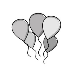 Grayscale balloons objects decoration to vector