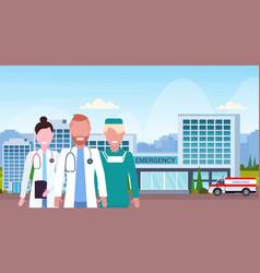 group of medical doctors team in uniform standing vector image