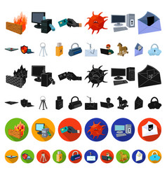 Hacker and hacking cartoon icons in set collection vector