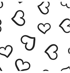 hand drawn hearts icon seamless pattern vector image