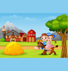 happy boy and girl riding a horse in faram landsca vector image