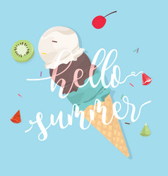 Hello summer with ice cream on blue background vector