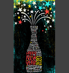 inspiring happy new year 2020 champagne bottle vector image
