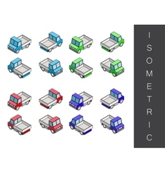 Isometric transport icon set vector