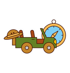 Jeep vehicle hat and compass safari equipment vector