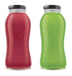 juice bottles with many fresh ice drops vector image