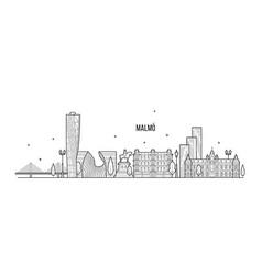 malmo skyline sweden city buildings linear vector image
