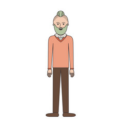 man full body with beard and sweater and pants and vector image