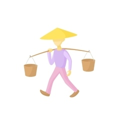Man in a conical hat carries buckets icon vector