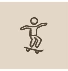 Man riding on skateboard sketch icon vector image