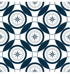 mariner compass wind rose seamless pattern sea vector image