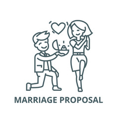 marriage proposalman and woman love ring vector image