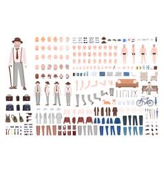 modern elderly man or grandfather diy kit set of vector image