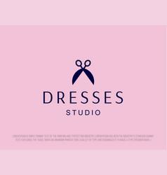 Modern professional scissors logo for dresses vector