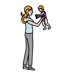 Mom holding baby playing image vector