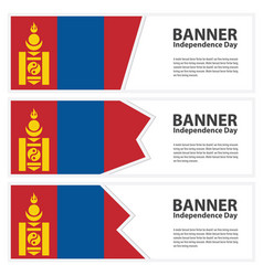 Mongolia flag banners collection independence day vector