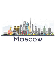 Moscow russia skyline with gray buildings vector