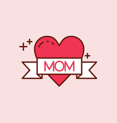 Mothers day red icon with light pink backgorund vector