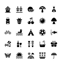 Nature and picnic glyph icons vector