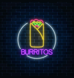 Neon glowing sign of burrito in circle frame vector