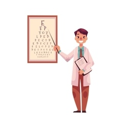 Optometrist doctor pointing to a letter on eye vector