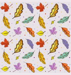 pattern doodle autumn leaves vector image