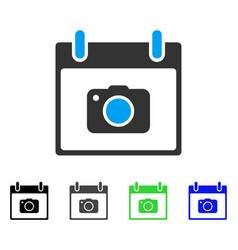 Photo camera calendar day flat icon vector