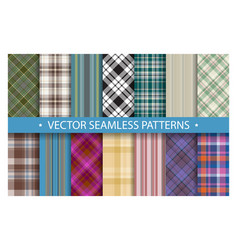 plaid pattern seamless ornate set traditional vector image