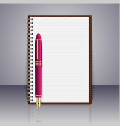 realistic spiral notepad and pen elements vector image