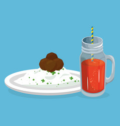 rice and meat with juice delicious food breakfast vector image