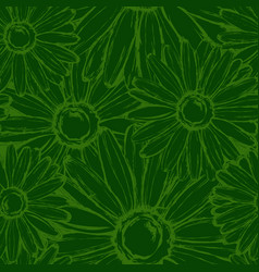 Seamless pattern contour field chamomiles vector
