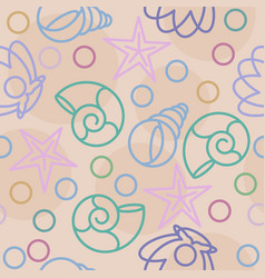seamless pattern with seashells and pearls on sand vector image