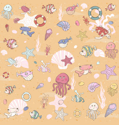 Seamless sea pattern with various inhabitants vector