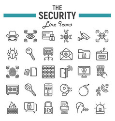 Security line icon set cyber protection signs vector
