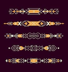 Set decorative ethnic borders with american vector