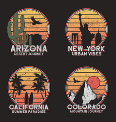 Set design for american slogan t-shirt arizona vector