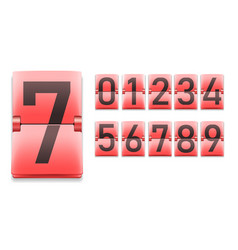 set numbers digits in mechanical scoreboard vector image