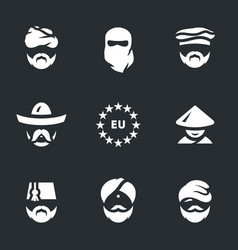 Set of immigrants icons vector