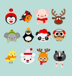 set of winter cute animals vector image