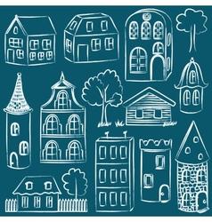 set sketched houses vector image