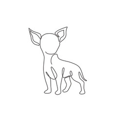 single continuous line drawing cute chihuahua vector image
