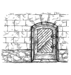 Sketch hand drawn old arched wooden door in stone vector