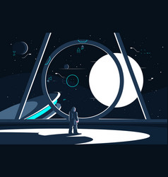 spacesuit astronaut in spaceship looking at moon vector image