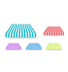 Tent sunshade for window colored striped roof vector