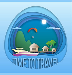 Time to travel emblem template sea resort with vector