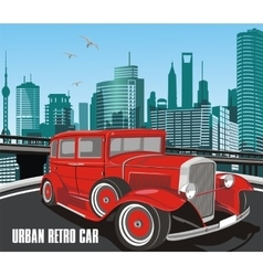 urban retro car in on background of the vector image
