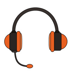 White background with handsfree headset vector