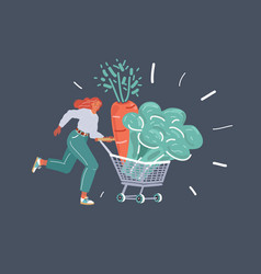 woman runs with a grocery cart full vegetables vector image